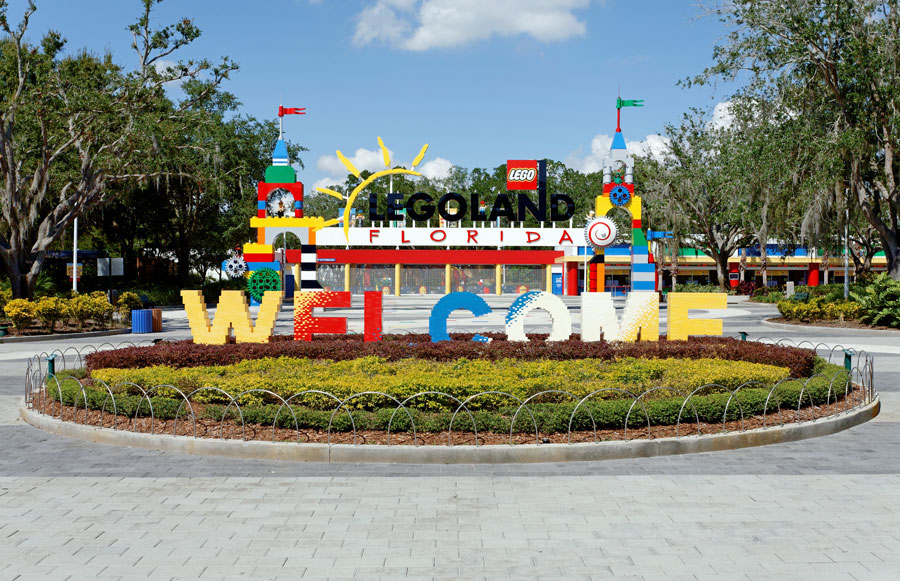 The main entrance to Legoland Florida on October 16, 2013. Legoland Florida is a theme park based on the popular LEGO brand of building toys located on Legoland Way in Winter Haven, Florida. Photo credit: Katherine Welles / Shutterstock.com, licensed.