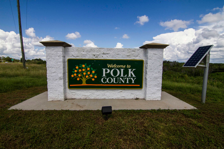 Welcome to Polk County sign in River Ranch, Florida, September 21, 2018.