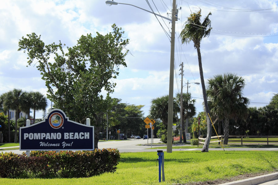 Located between Miami and Palm Beach on the Gold Coast with about three miles of beaches and lots of recreation is Pompano Beach, Florida.