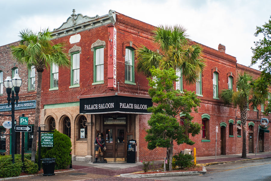 Palace Saloon in the Famous Prescott Building in Fernandina Beach on Amelia Island. A Historic Red Brick Building in the Beaux Arts Style. Fernandina Beach, Florida, July 18 2012.