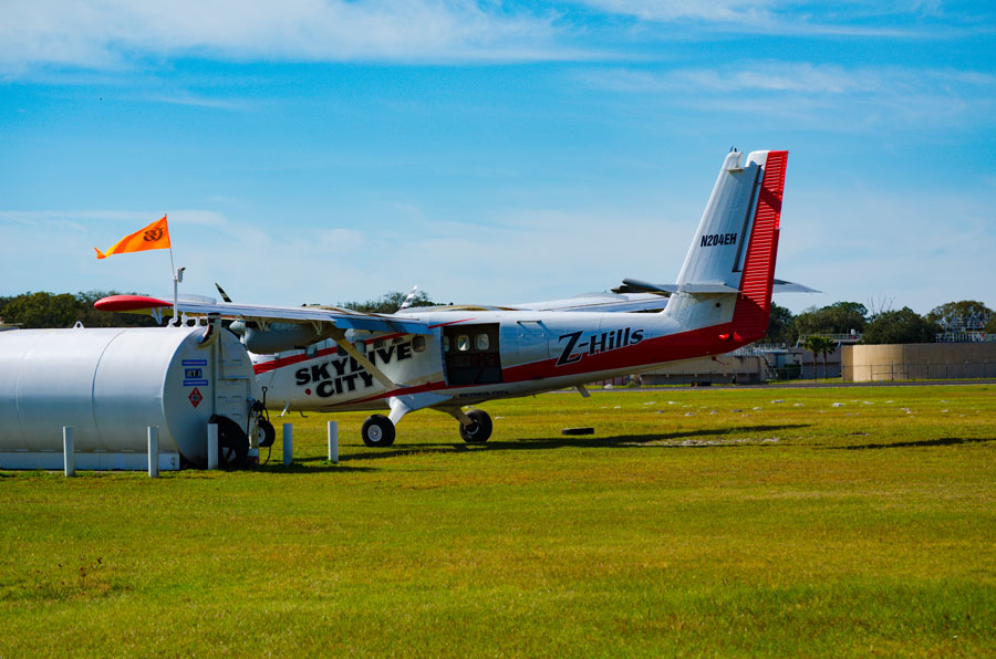 Skydive City's Twin Otter aircraft is refueled before returning to skydiving duties. Zephyrhills Florida, January 26, 2020.