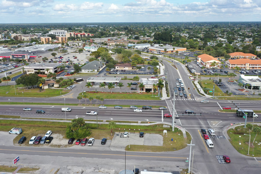Aerial view of Tamiami trail and Revere Street in downtown Port Charlotte, Florida. Photo credit ShutterStock.com, licensed.