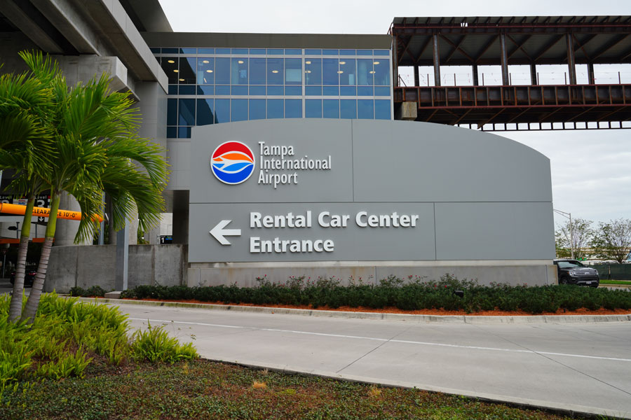 View of the car rental center at the Tampa International Airport (TPA) located in Tampa, Florida