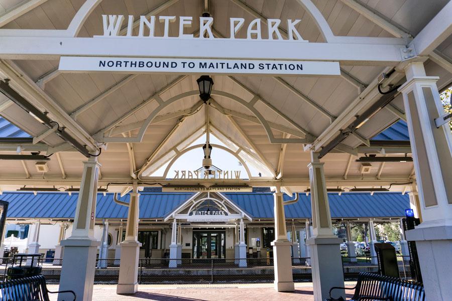The Amtrak train station in Winter Park, Florida on December 17, 2017.