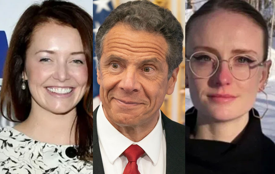 36-year-old former aide Lindsey Boylan (left) said Cuomo allegedly acted 'unprofessional' with her female collages from she worked for him from 2015 to 2018 (Photo, The Sun). Governor Andrew Cuomo (center) Editorial credit: Lev Radin / Shutterstock.com, licensed. Charlotte Bennett has accused Cuomo of sexual harassment, saying he asked her questions about her sex life and whether she would consider having sex with an older man. (Photo, The Sun)