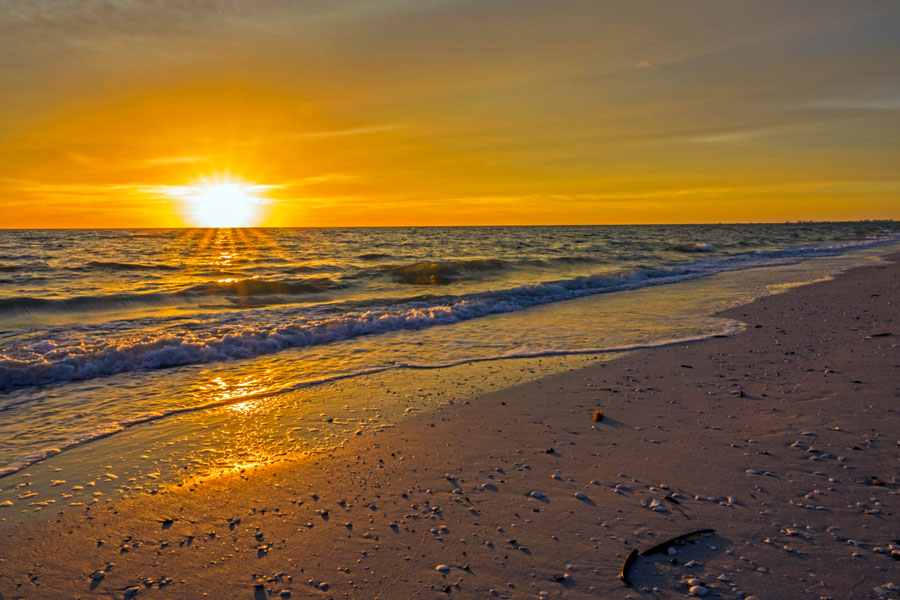 A typical Barefoot Beach sunset in Bonita Springs, Florida, on its beautiful west coast.