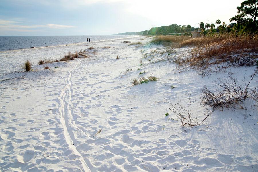 The white sands of Carrabelle beach, Carrabelle, Florida on a February day in 2014. Editorial credit: Fsendek / Shutterstock.com, licensed.