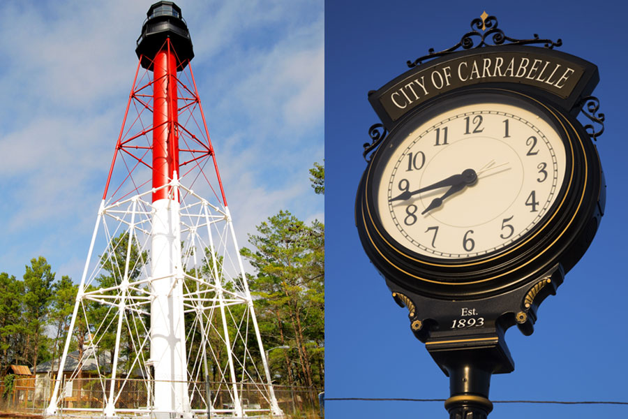 Lighthouse tower at Crooked River. The clock in the center of the small town of Carrabelle in Florida. Photo credits, ShutterStock.com, licensed.