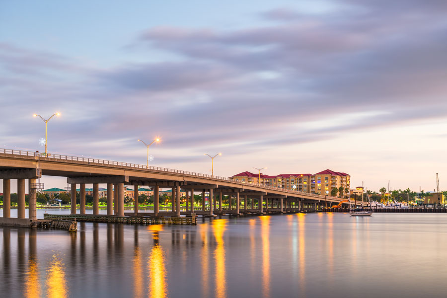 Downtown on the Manatee River at dusk in Bradenton, Florida. Photo credit ShutterStock.com, licensed.