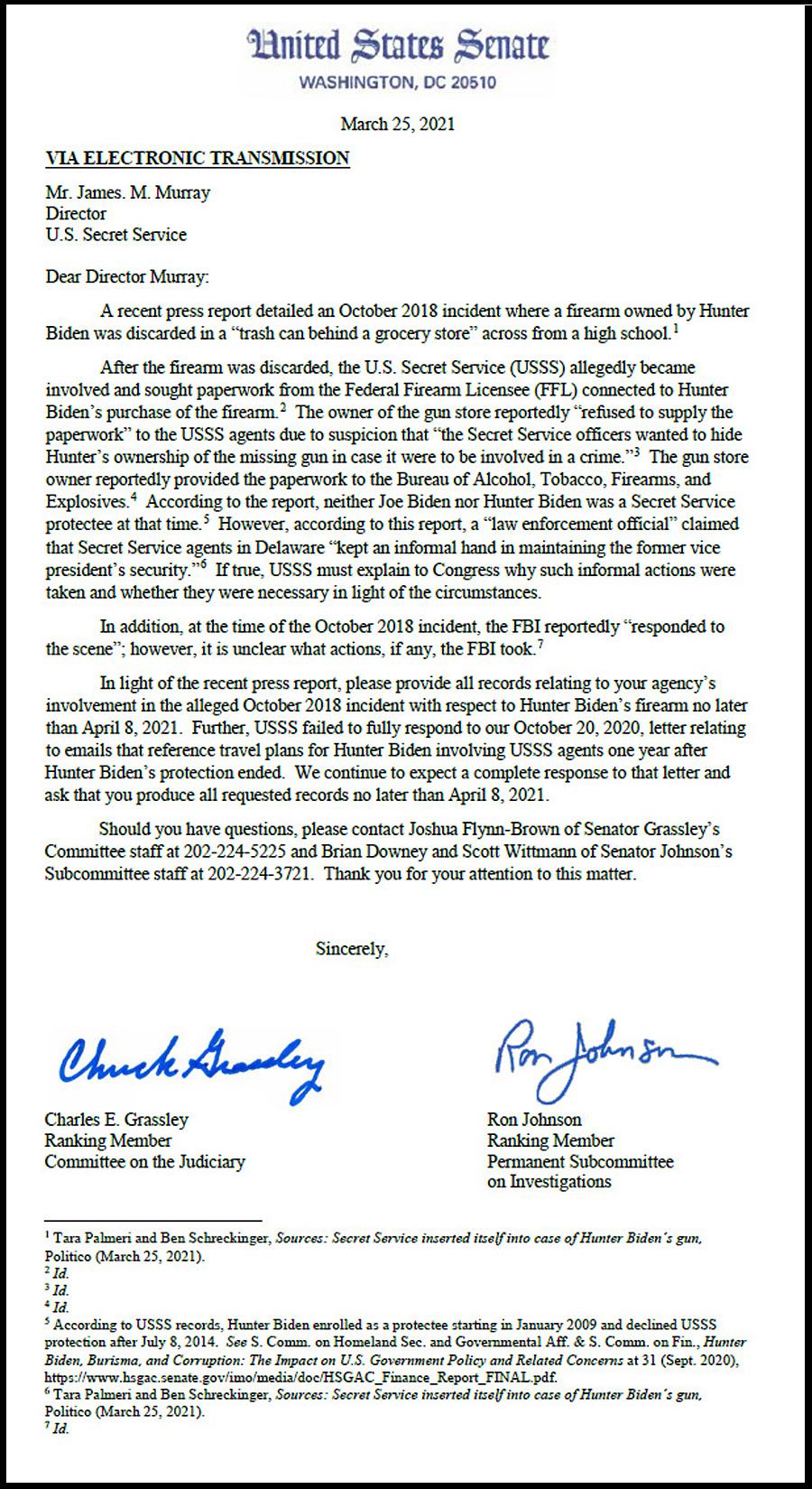 Full text of the senators' letter to the Secret Service