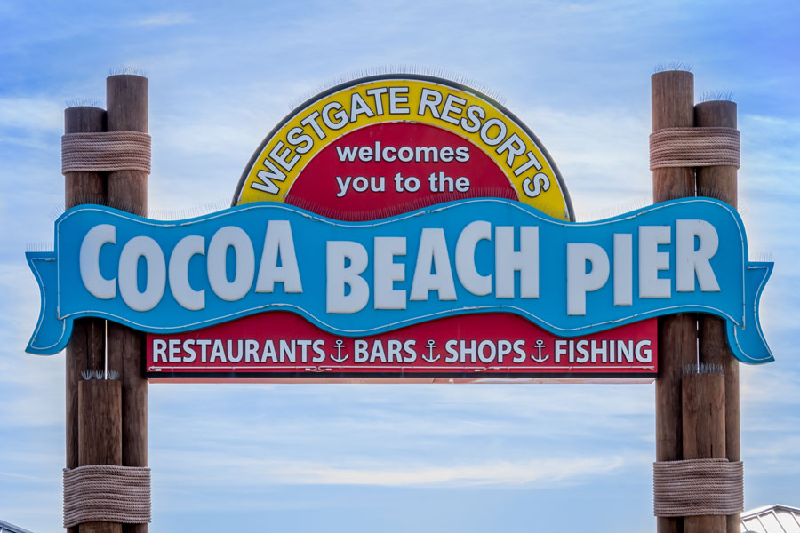 Historic Cocoa Beach Pier is 800 feet long and is home to restaurants, bars and gift shops. Cocoa Beach, Florida, on March 30, 2018. Editorial credit: Thomas Kelley / Shutterstock.com, licensed.