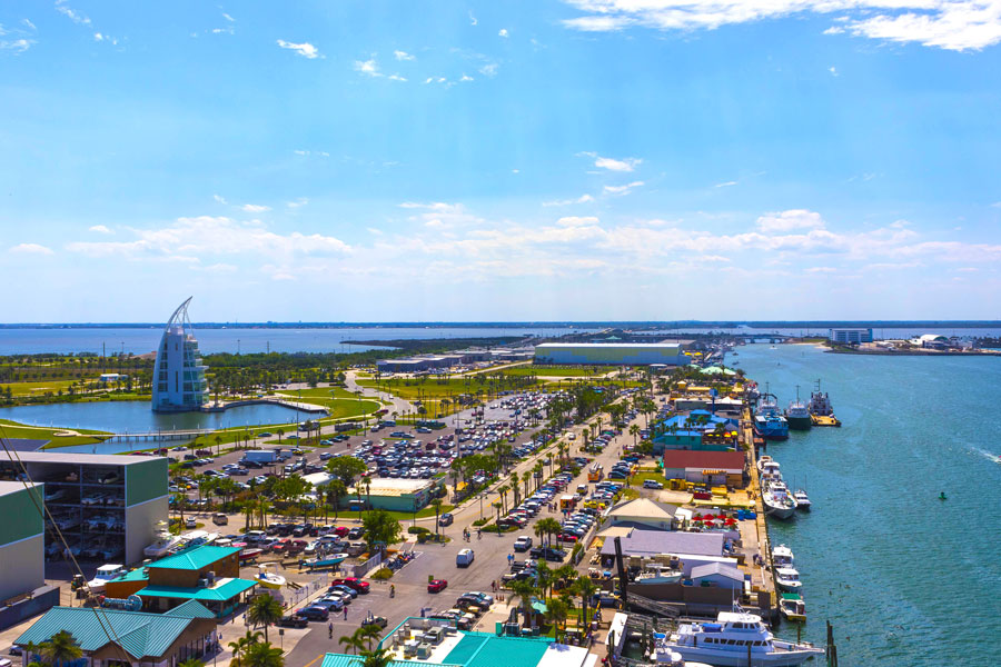 The arial view of port Canaveral from cruise ship, docked in Port Canaveral, Brevard County, Florida.