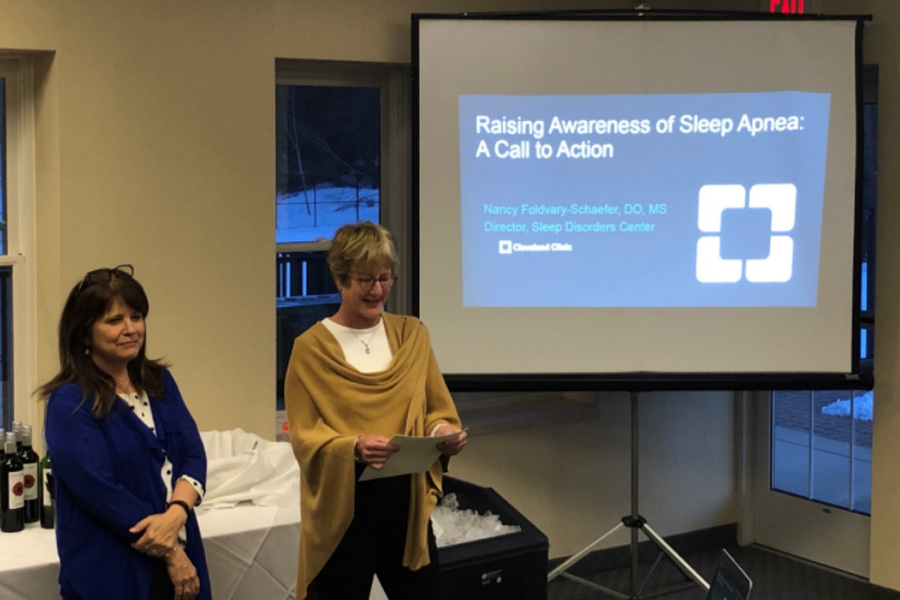 Mary Schaff speaks during an event with Dr. Nancy Foldvary-Schaefer of the Cleveland Clinic