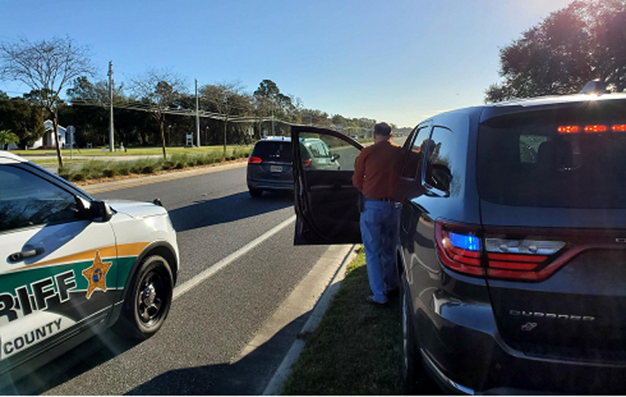 Sheriff Rick Staly, who had just finished a traffic stop on a speeding vehicle, was nearby and quickly spotted the 2020 Chrysler Pacifica Minivan traveling northbound on US Highway 1 crossing Belle Terre Parkway.