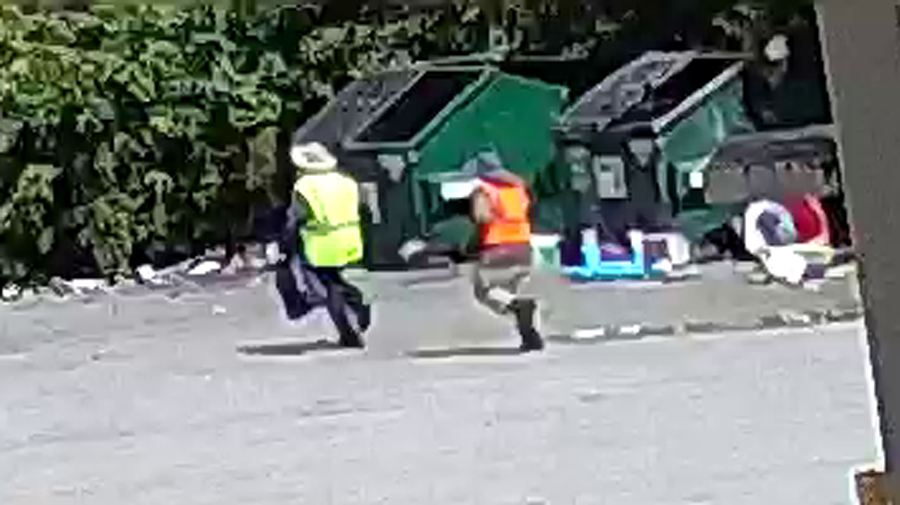Witnesses on the scene described the suspects to have been loitering around the property seemingly picking up trash, while wearing high-visibility clothing to pose as service workers.