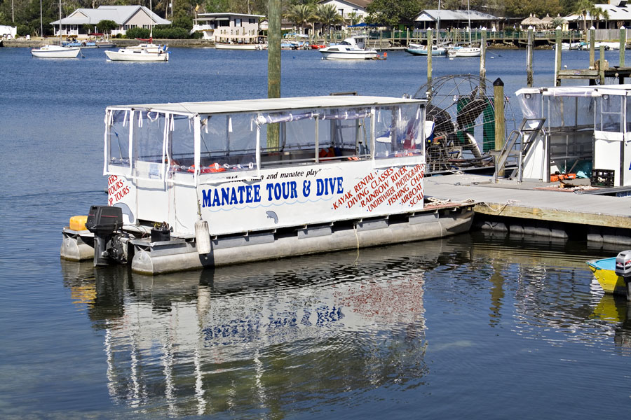 A tour boat on River takes tourist to see the Manatees, coastal homes in the background. Photo credit ShutterStock.com, licensed.