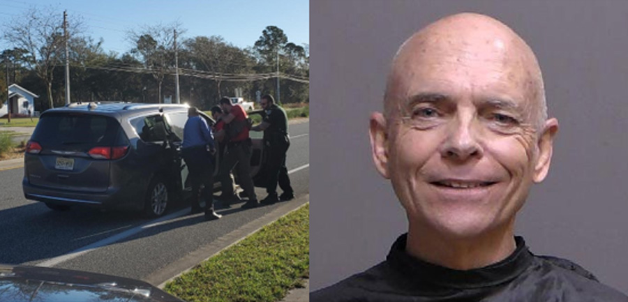 Left: Deputies during the felony traffic stop. Right: Nichols' booking photo.