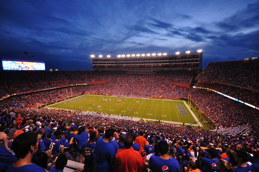 Over 80,000 people attend The University of Florida home opening game as the Gators host the Florida Atlantic in Ben Hill Griffin Stadium on September 3, 2011 in Gainseville, Florida. Editorial credit: Arkorn / Shutterstock.com, licensed.