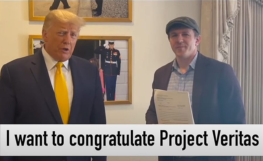 Project Veritas shared a video on Tuesday of former President Donald Trump congratulating investigative reporter James O'Keefe, the organization's founder, on the legal victory in their ongoing case against the New York Times.