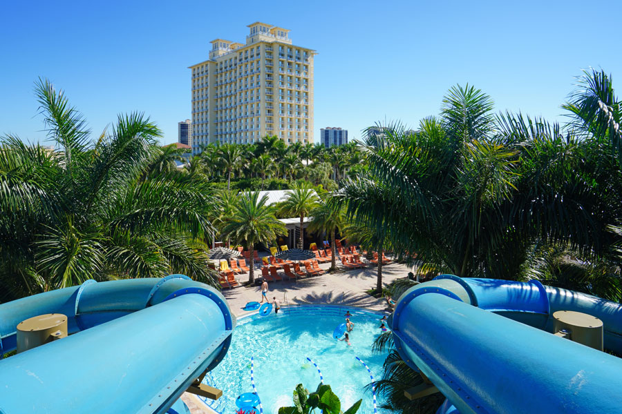 A giant aquatic water slide in a swimming pool at the Hyatt Regency Coconut Point Resort and Spa in Bonita Springs, Florida, close to Fort Myers.