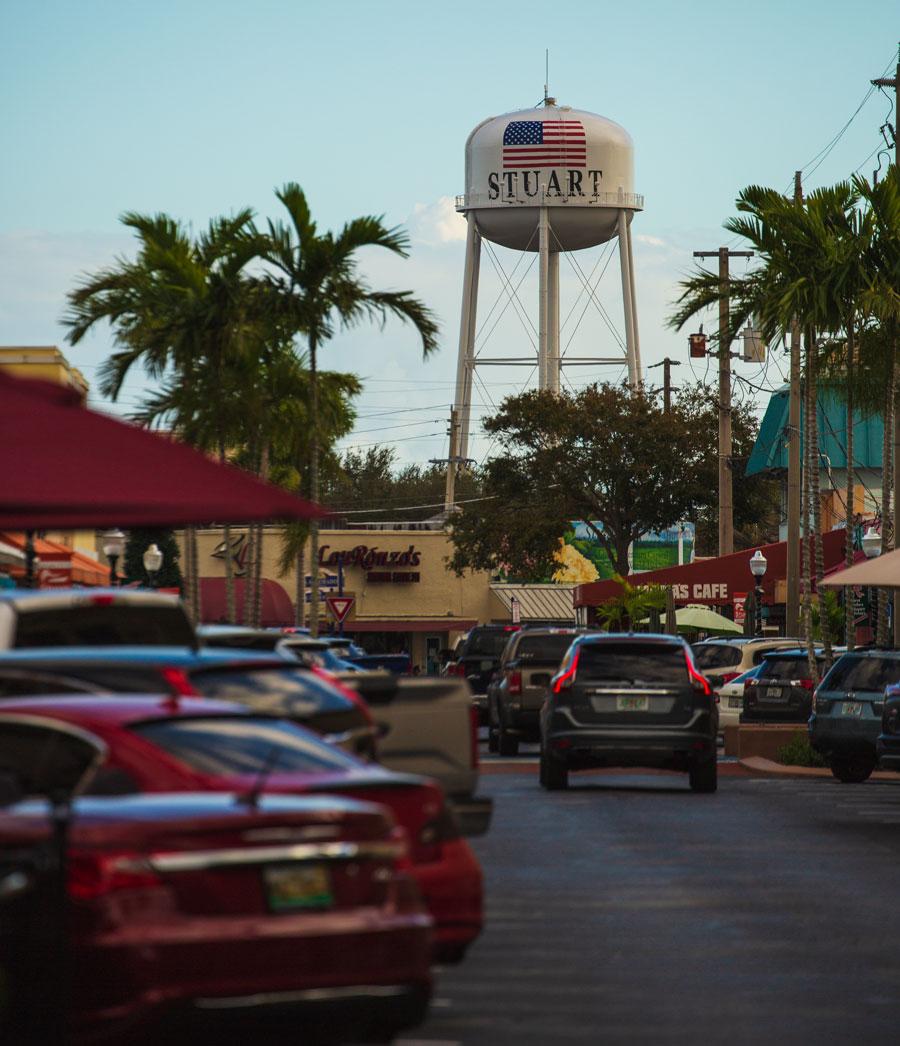City of Stuart Water Tower, January 1, 2019. Stuart, Florida. Editorial credit: Klimamarina / Shutterstock.com, licensed.