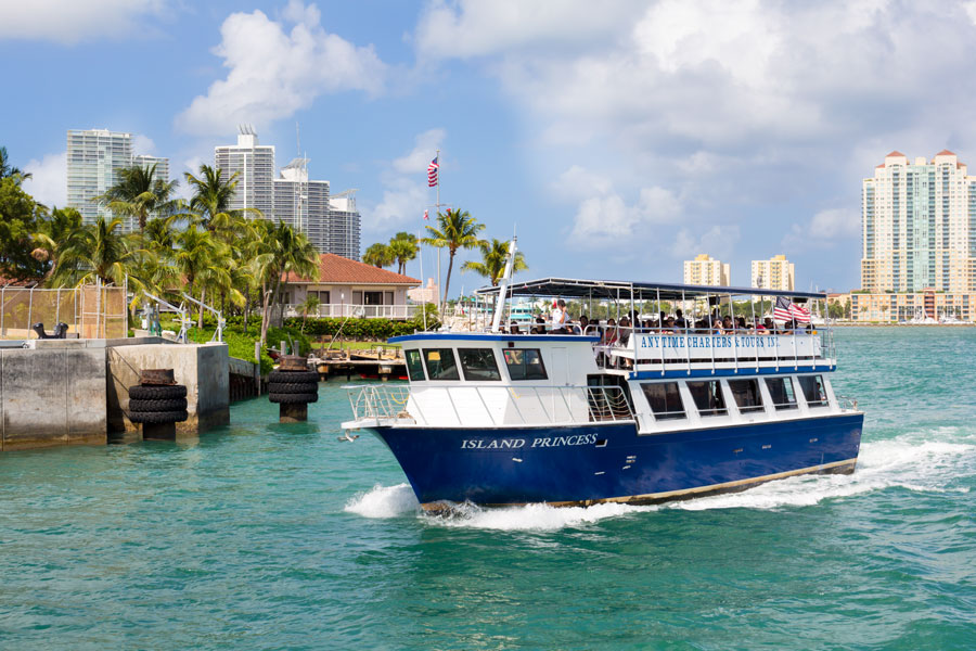 A sightseeing tour aboard the mini cruise ship the Island Princess in Biscayne Bay on August 26, 2014. Photo credit: Kamira, Shutterstock.com, licensed.