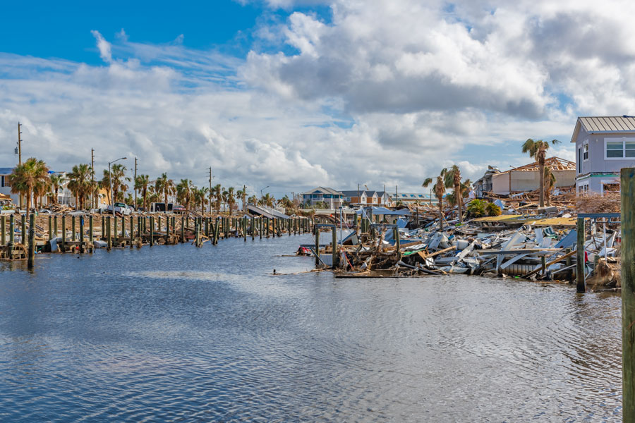 Canal Park, 16 days after Hurricane Michael on October 26, 2018. Mexico Beach, Florida.