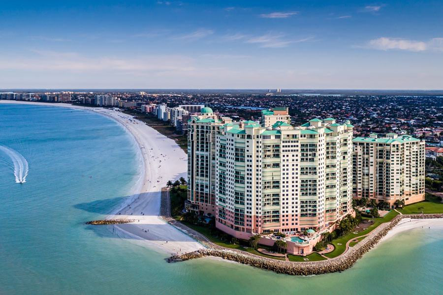 Cape Marco, an exclusive gated condominium community situated on 30 prime acres of beachfront property in Marco Island Florida.