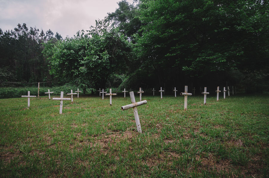 Boot Hill Cemetery at the former Arthur G. Dozier School for Boys in Marianna, Florida on April 21, 2012.