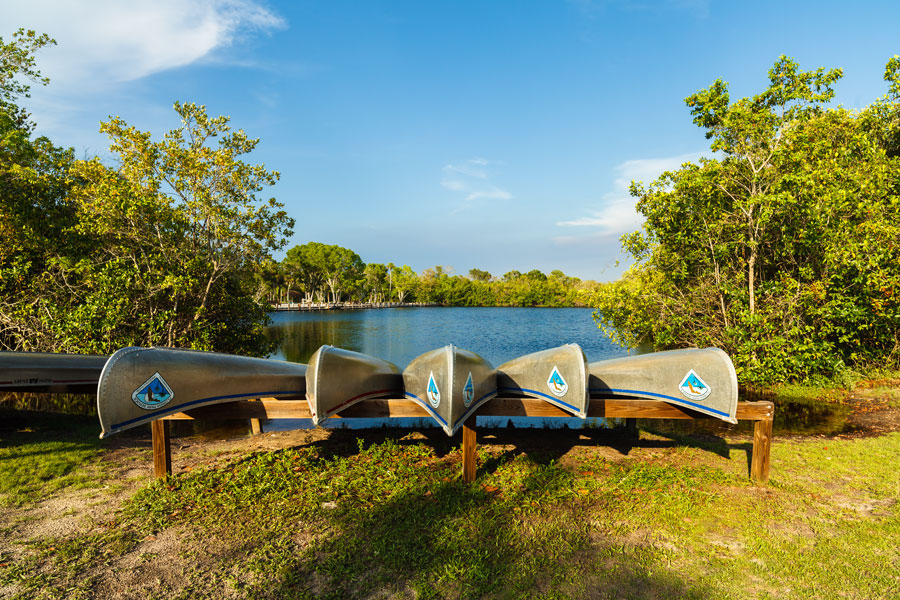 Canoes ready for rental at the Collier-Seminole state park along Highway 41 in the popular Everglades.