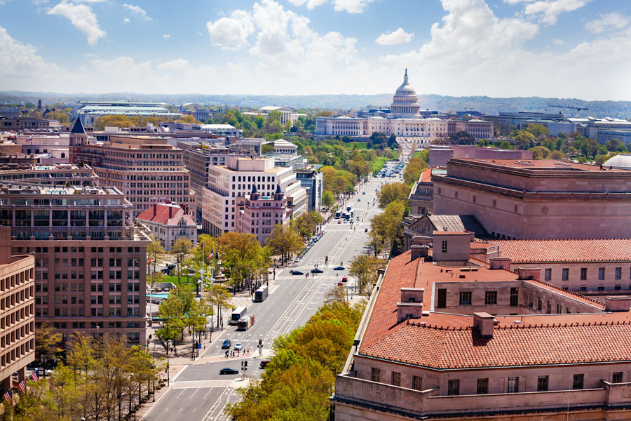 Washington, D.C. is populated by over 700,000 people – more than the population of some states, such as Vermont or Wyoming – but has no voting representation in the House or the Senate. Photo credit ShutterStock.com, licensed.