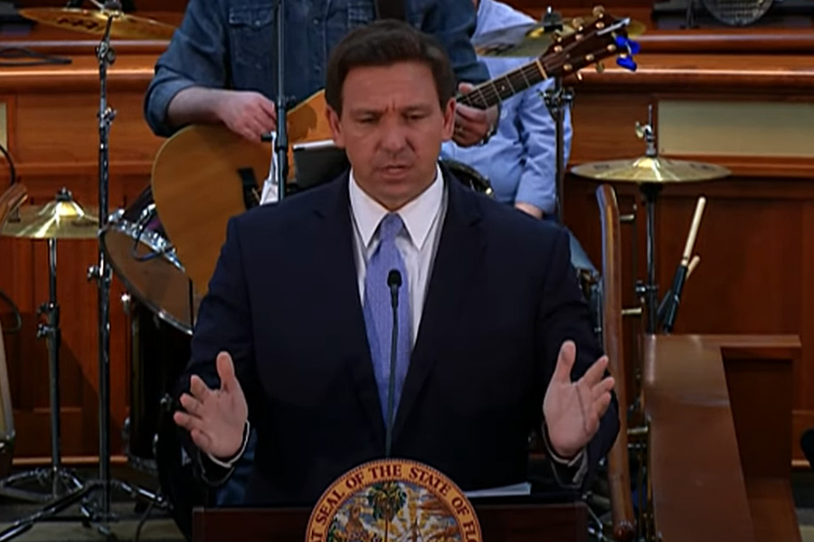Florida Governor Ron DeSantis is joined by Chief Financial Officer Jimmy Patronis, Senate President Wilton Simpson and House Speaker Chris Sprowls for a press conference at the Florida State Capitol. Mar 29, 2021.