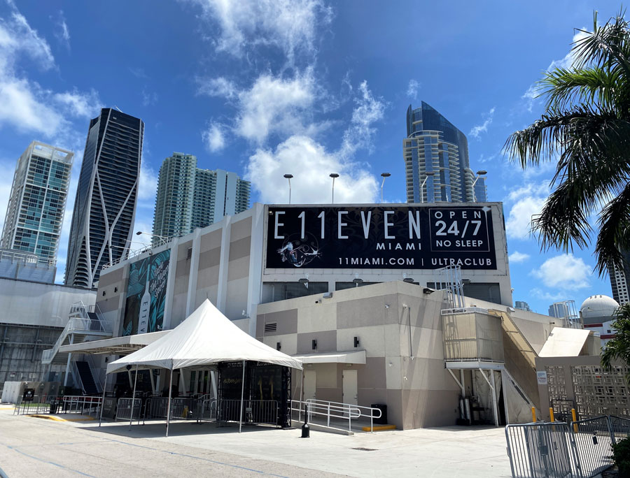 Exterior of Club E11EVEN also spelled Club Eleven in South beach, Florida. Downtown Miami. Open 24 hours a day with trapeze dancers, burlesque shows and DJs.