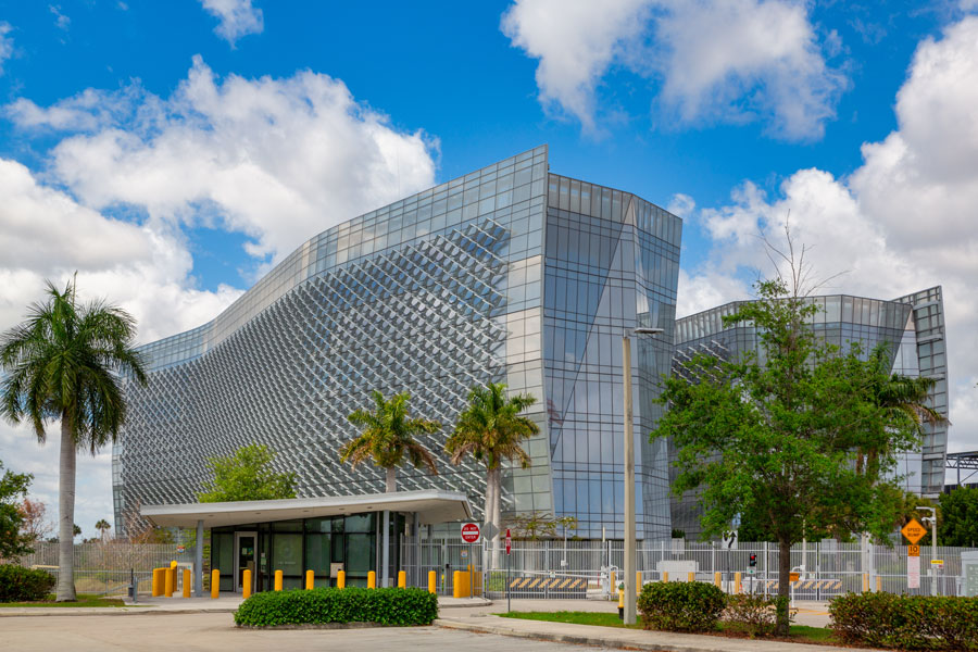 J. Edgar Hoover FBI Miami Federal Government Office in Miramar, Florida as seen on March 15, 2020. File photo: YES Market Media, Shutterstock.com, licensed.