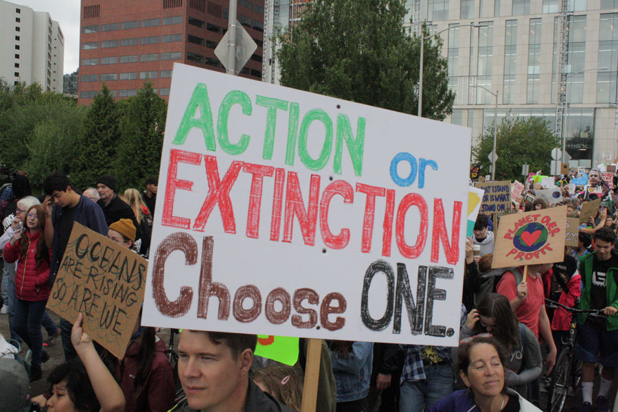 Climate March protesters rally for climate change in Portland, Oregon on September 20, 2019.