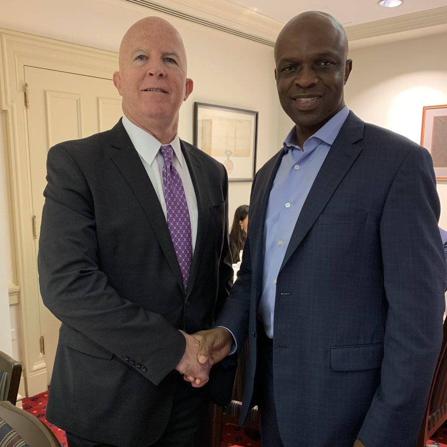 George Onuorah (right) in a recent photo with former NYC Police Commissioner James O' Neil. Photo Credit: George Onuorah For City Council.