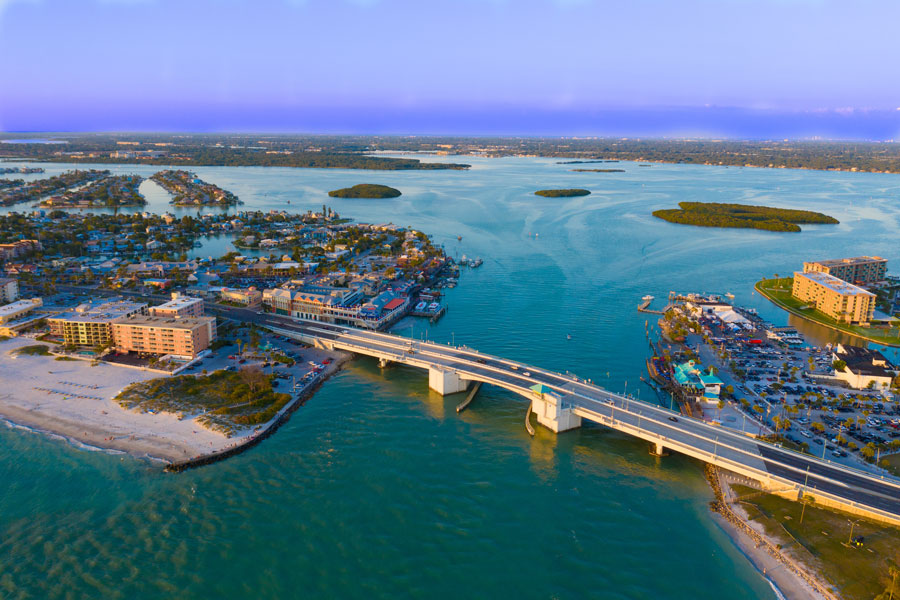 An aerial View of Johns Pass Village and Boardwalk at Madeira Beach, Florida. Photo credit ShutterStock.com, licensed.