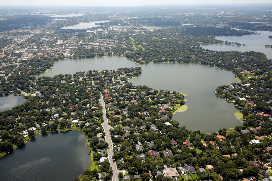 An aerial photo of Chain-of-Lakes and Lakefront Property in the Orlando, Winter Park and Maitland Florida areas.