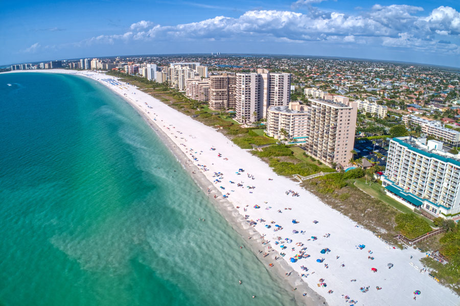 An aerial View of Marco Island, a popular tourist beach town in Florida.