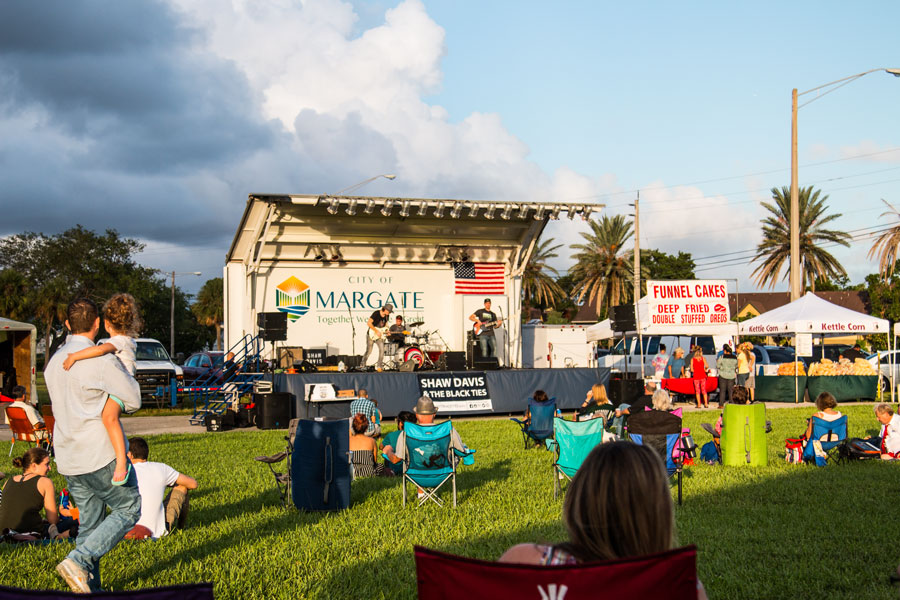 Food truck festival, market place and concert in Margate, Florida on October 14th, 2017.
