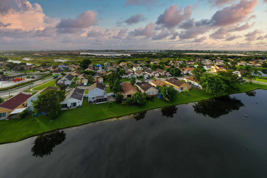 An aerial photo of residential neighborhoods in Miramar Florida. Photo credit ShutterStock.com, licensed.