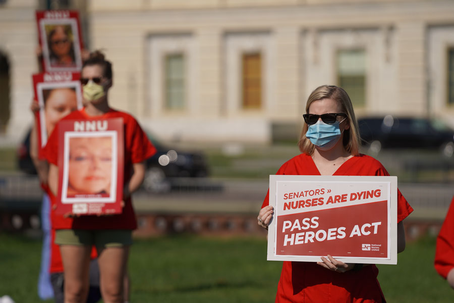 National Nurses United demonstration at the U.S. Capitol Senate building in support of the HEROES Act to provide PPE for nurses in their fight against COVID-19. File photo credit: Phil Pasquini, Shutterstock.com, licensed.
