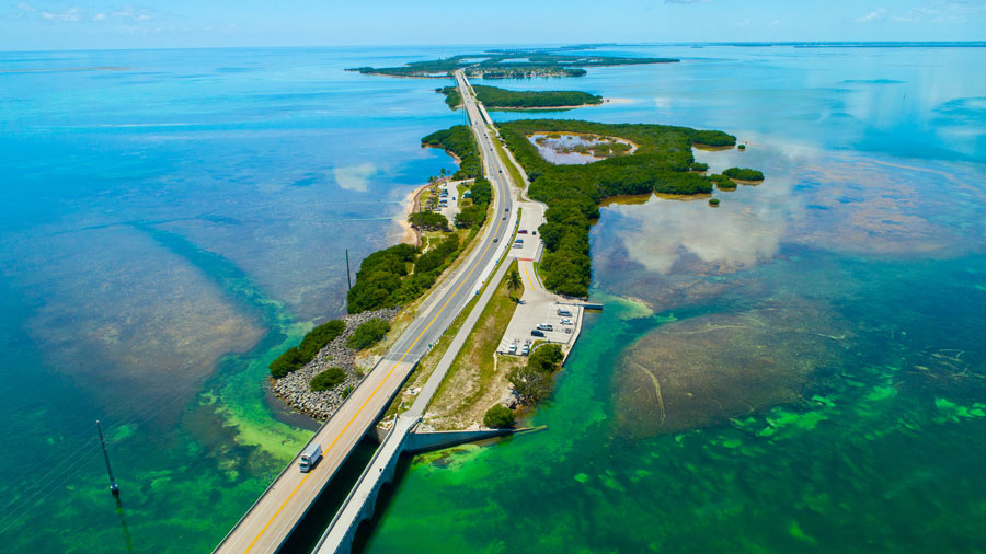 An aerial view of the beauty that awaits on the Seven Miles Bridge to Key West island from Marathon in the Florida Keys.