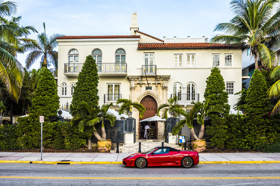 A Ferrari in front of the Versace mansion on August 20, 2014. In 1997 the world gasped as Gianni Versace was shot to death on the doorstep of his South Beach mansion in Miami.