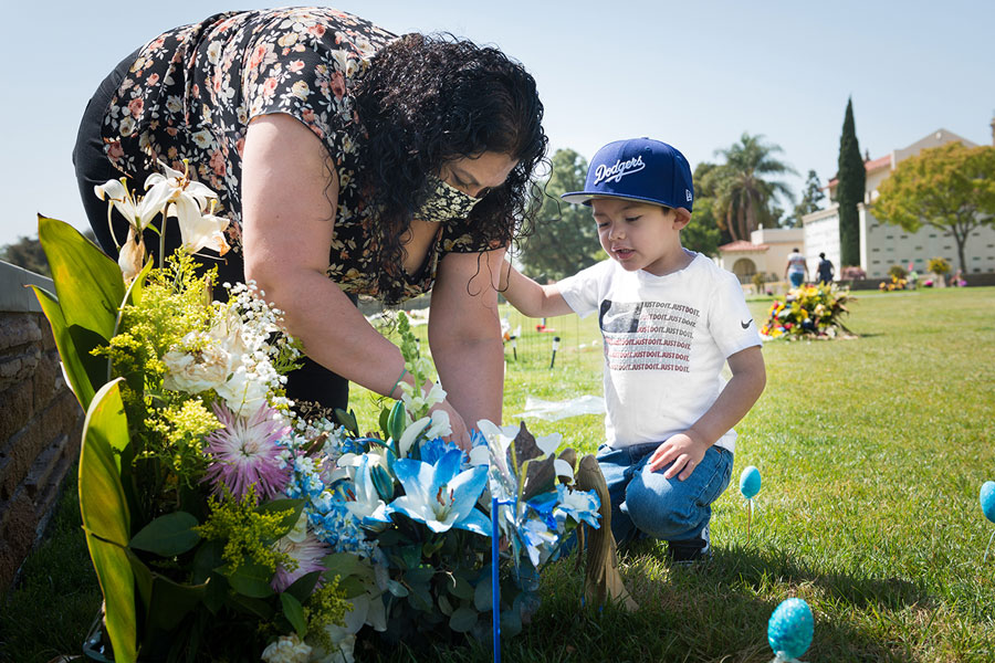 Nancy and Ezekiel visit Antonio's grave at Forest Lawn in Long Beach, California.