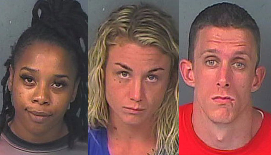 Additionally, three patrons were arrested on various drug charges. Nakia Williams, 24, (left) Desiree Kearney, 27, (center), and Christian Stinson, 29.