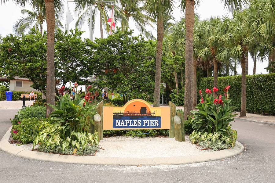 Entrance to the Naples Pier, recently re-opened after being closed due to Hurricane Irma damage in 2017 as seen on August 1, 2018. File photo: Jillian Cain Photography, Shutterstock.com, licensed.