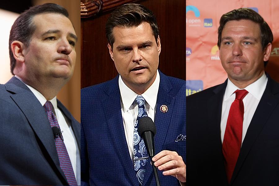 Senator of Texas, Ted Cruz, (Photo credit: Christopher Halloran, Shutterstock.com) Florida Rep. Matt Gaetz (Photo credit: C-SPAN) and Florida Governor Ron DeSantis (Photo credit: Leonard Zhukovsky, Shutterstock.com)