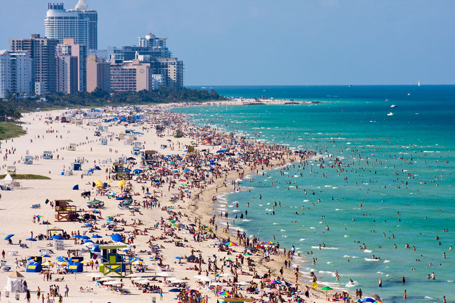 Miami's south beach, a view from port entry channel. Photo credit ShutterStock.com, licensed.