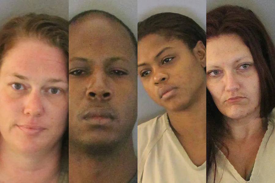 From left to right: Fallon Capps-Buchner, 37, Vincent M. Delemos, 35, . Latisha L. Campbell, 30, and Elizabeth M. Norris, 32.